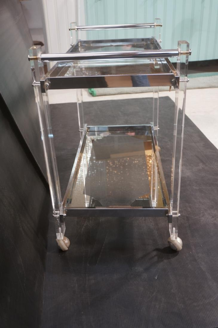 Modernist Lucite & Chrome Serving Bar Tea Cart. R - 6