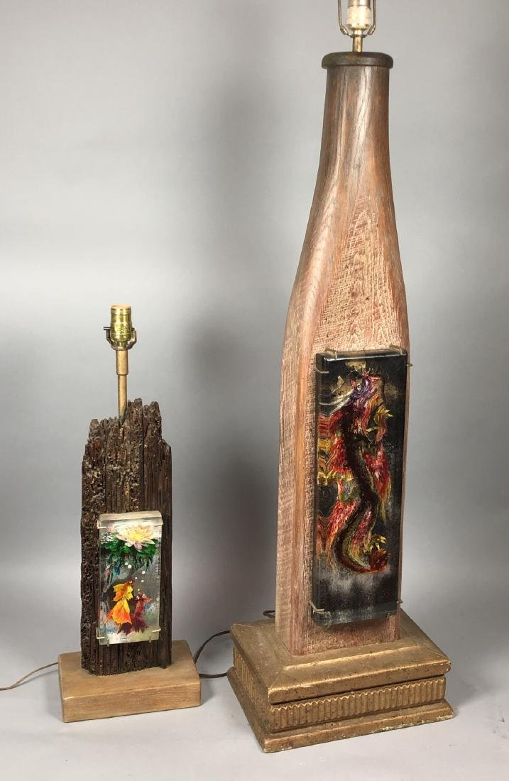 2pc LOUIS BORNEMISZA Intaglio Lucite Table Lamps.
