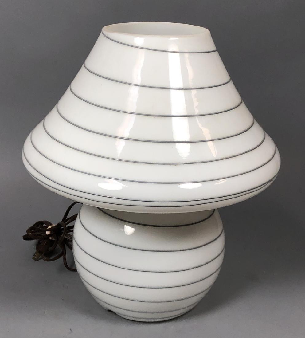 Murano Art Glass Mushroom Form Table Lamp. White