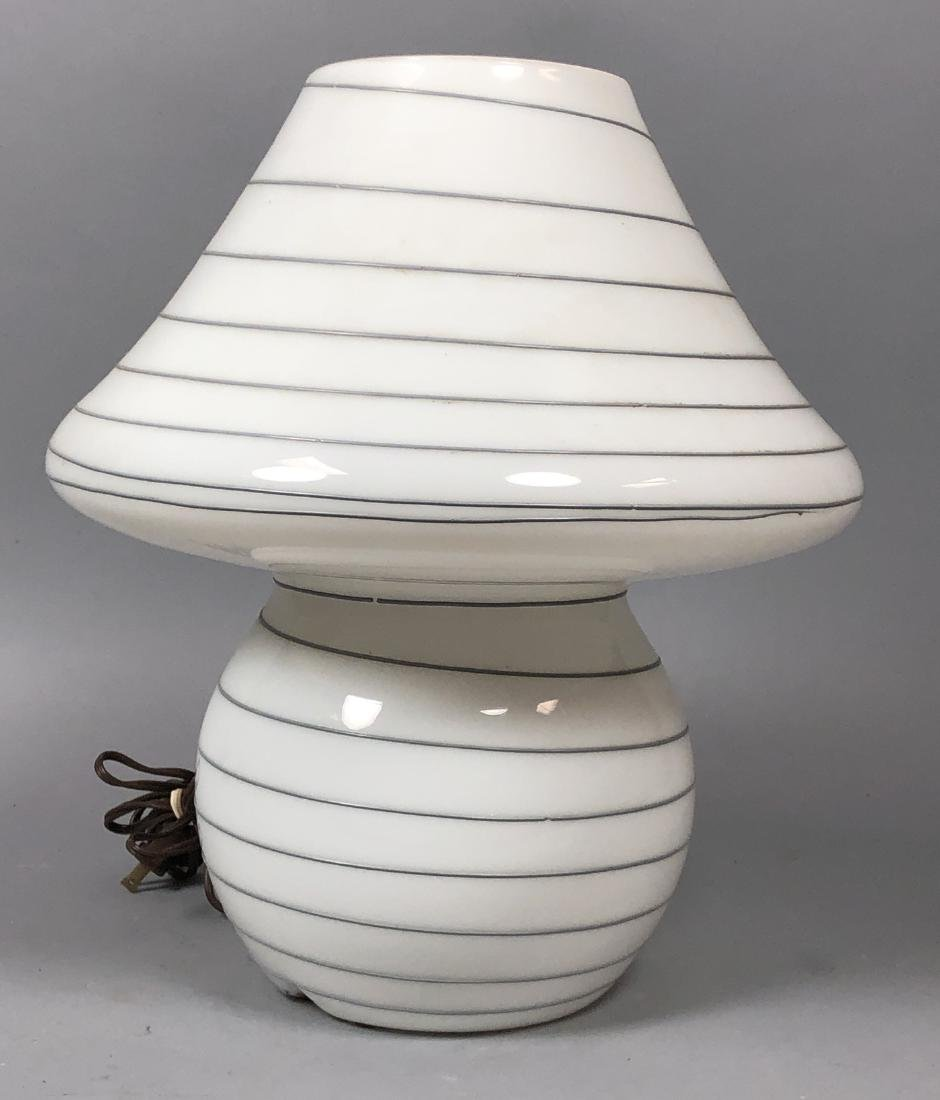 Murano Art Glass Mushroom Form Table Lamp. White - 2
