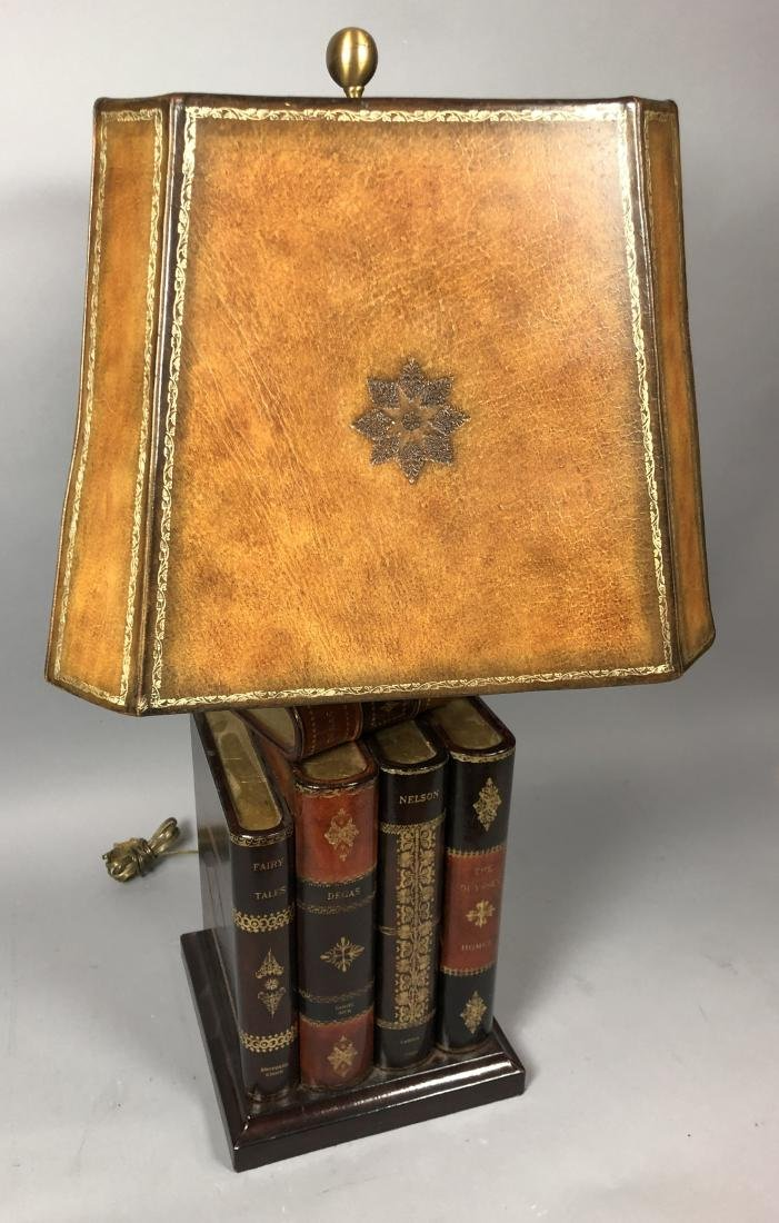 Decorator Leather Figural Book Table Lamp. Tooled