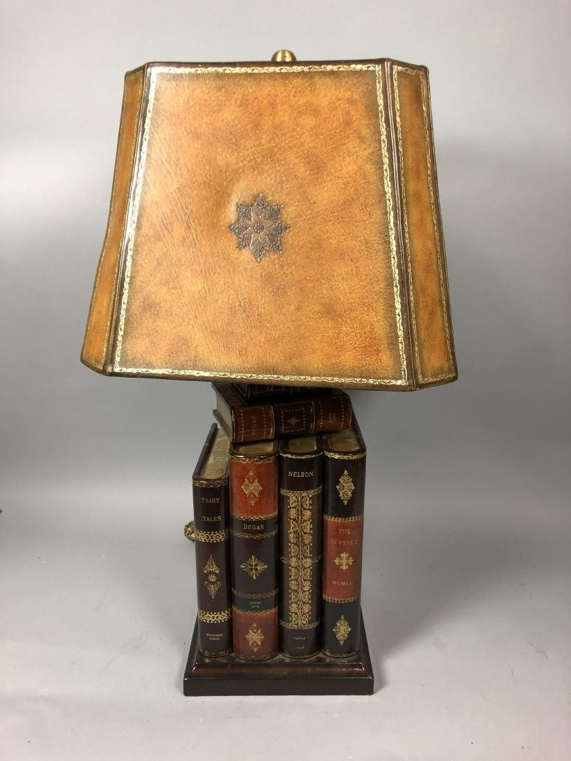 Decorator Leather Figural Book Table Lamp. Tooled - 2