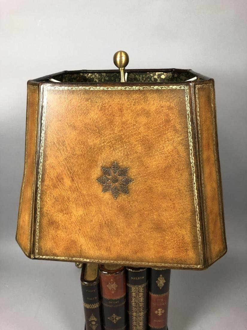 Decorator Leather Figural Book Table Lamp. Tooled - 6