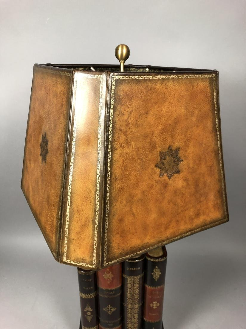 Decorator Leather Figural Book Table Lamp. Tooled - 7