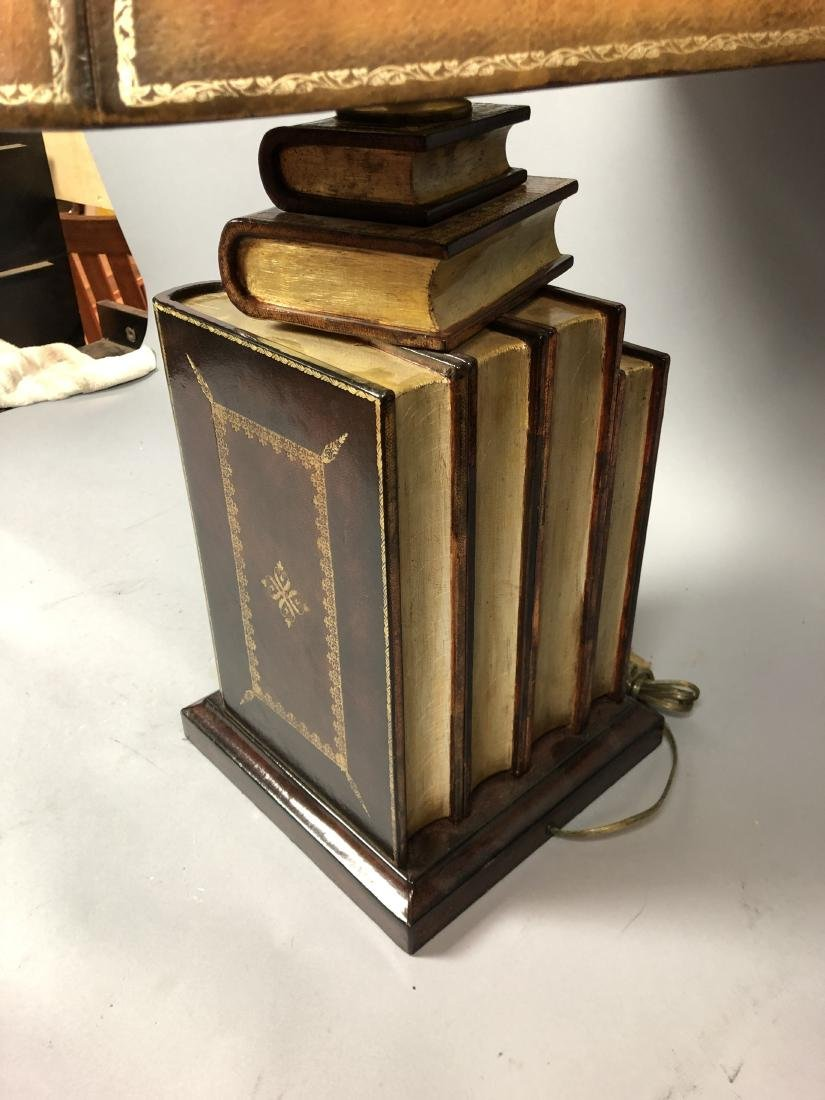 Decorator Leather Figural Book Table Lamp. Tooled - 9