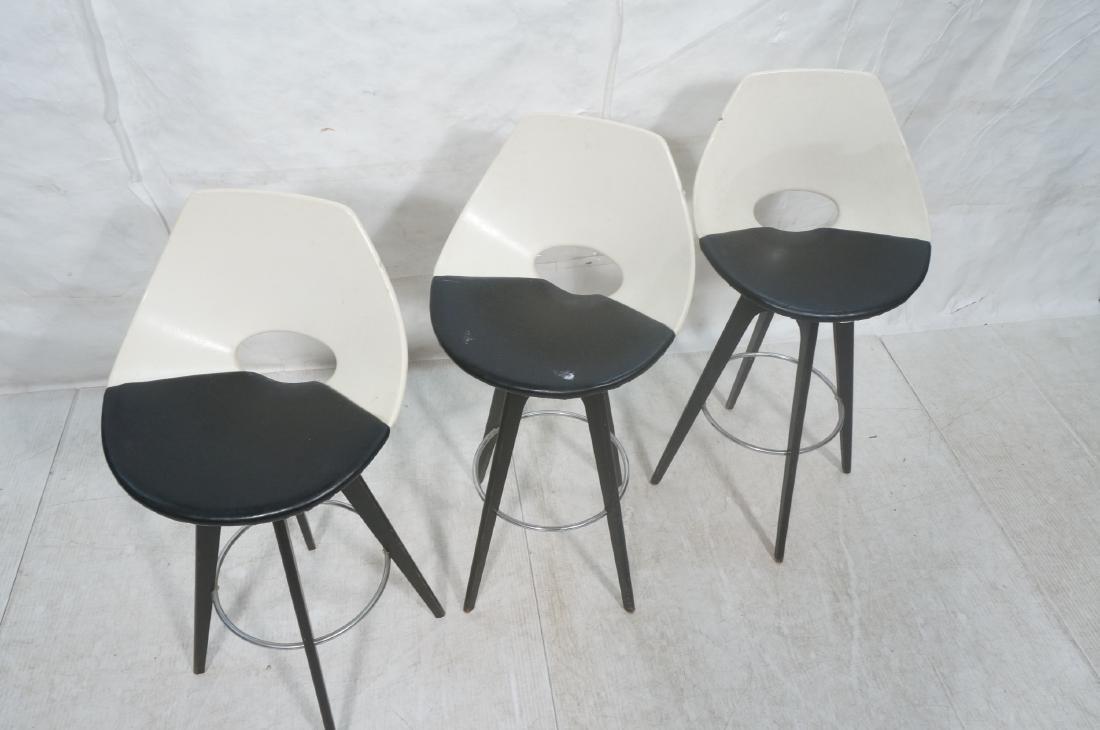 3pc White & Black Vinyl Modernist Bar Stools. Ebo - 3
