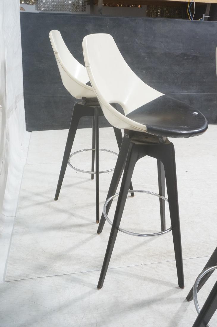 3pc White & Black Vinyl Modernist Bar Stools. Ebo - 6