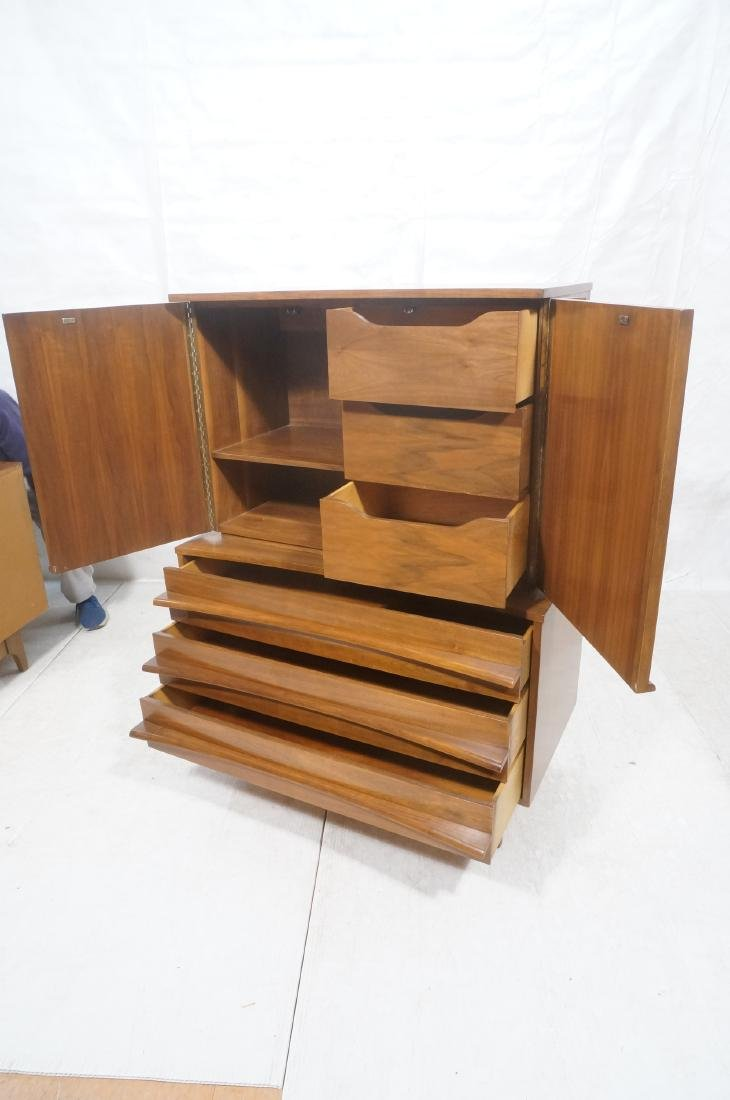 YOUNG American Modern Walnut Tall Chest Dresser. - 7