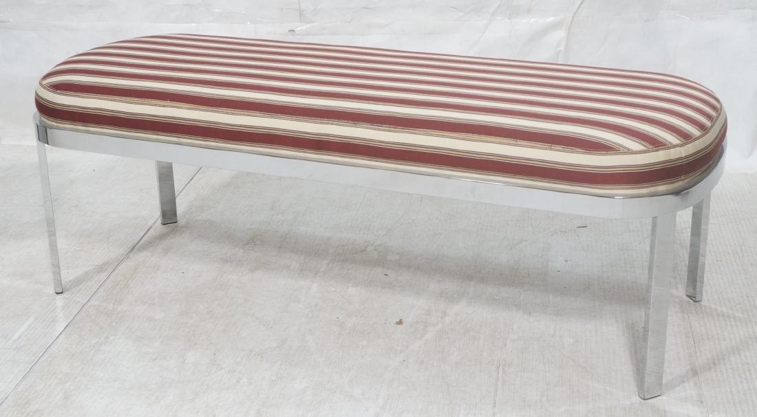 Chrome Frame Modernist Bench Seating. Striped Fab