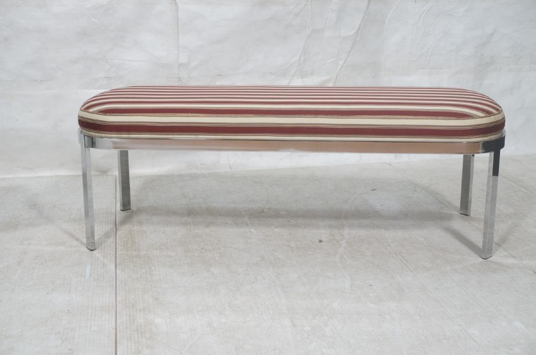 Chrome Frame Modernist Bench Seating. Striped Fab - 2