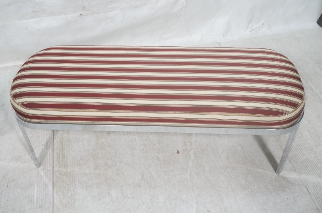 Chrome Frame Modernist Bench Seating. Striped Fab - 3
