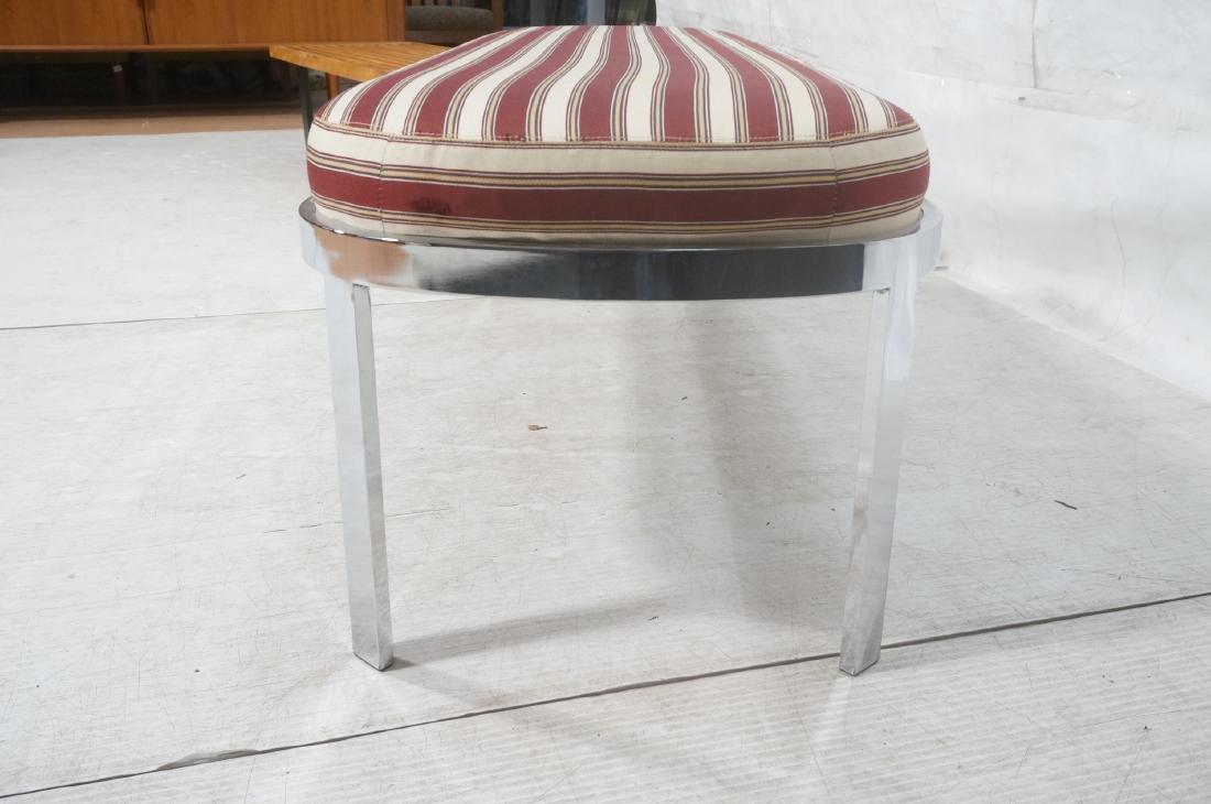Chrome Frame Modernist Bench Seating. Striped Fab - 4