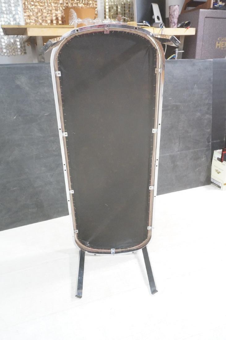 Chrome Frame Modernist Bench Seating. Striped Fab - 7