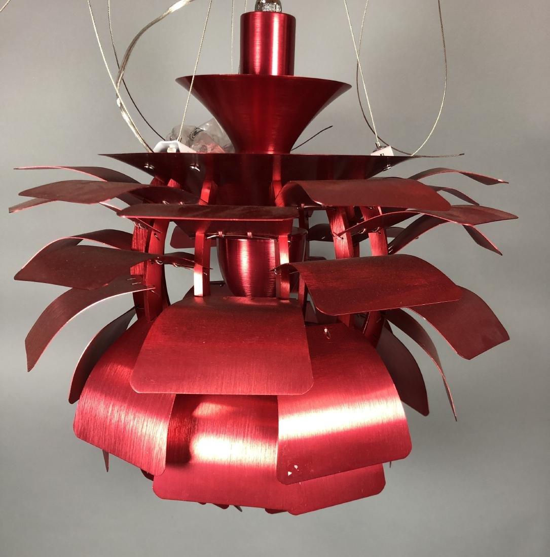Red Aluminum Poulsen Artichoke style Chandelier.