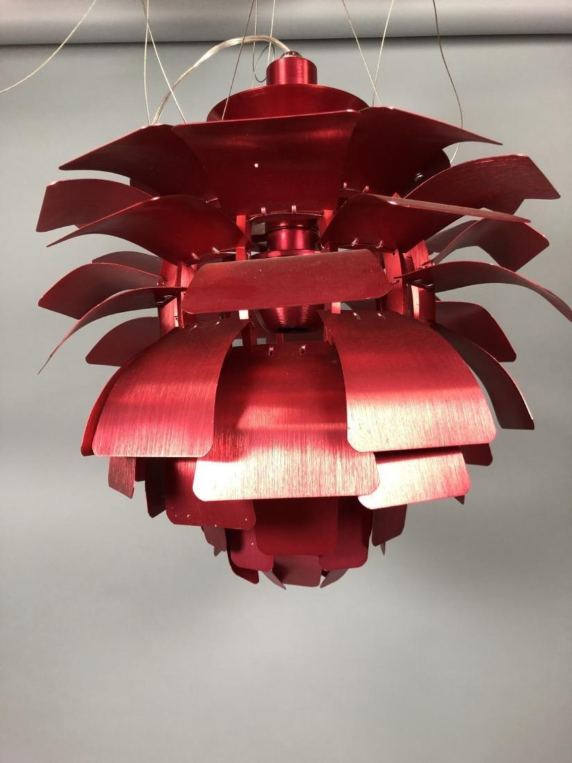 Red Aluminum Poulsen Artichoke style Chandelier. - 2