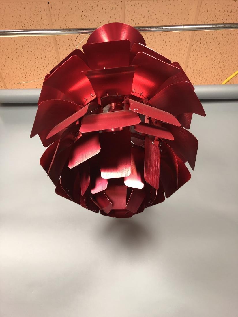 Red Aluminum Poulsen Artichoke style Chandelier. - 3