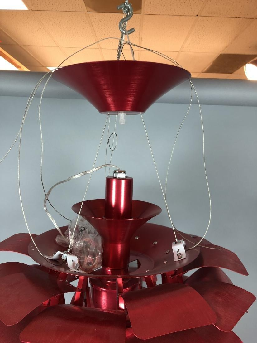 Red Aluminum Poulsen Artichoke style Chandelier. - 4
