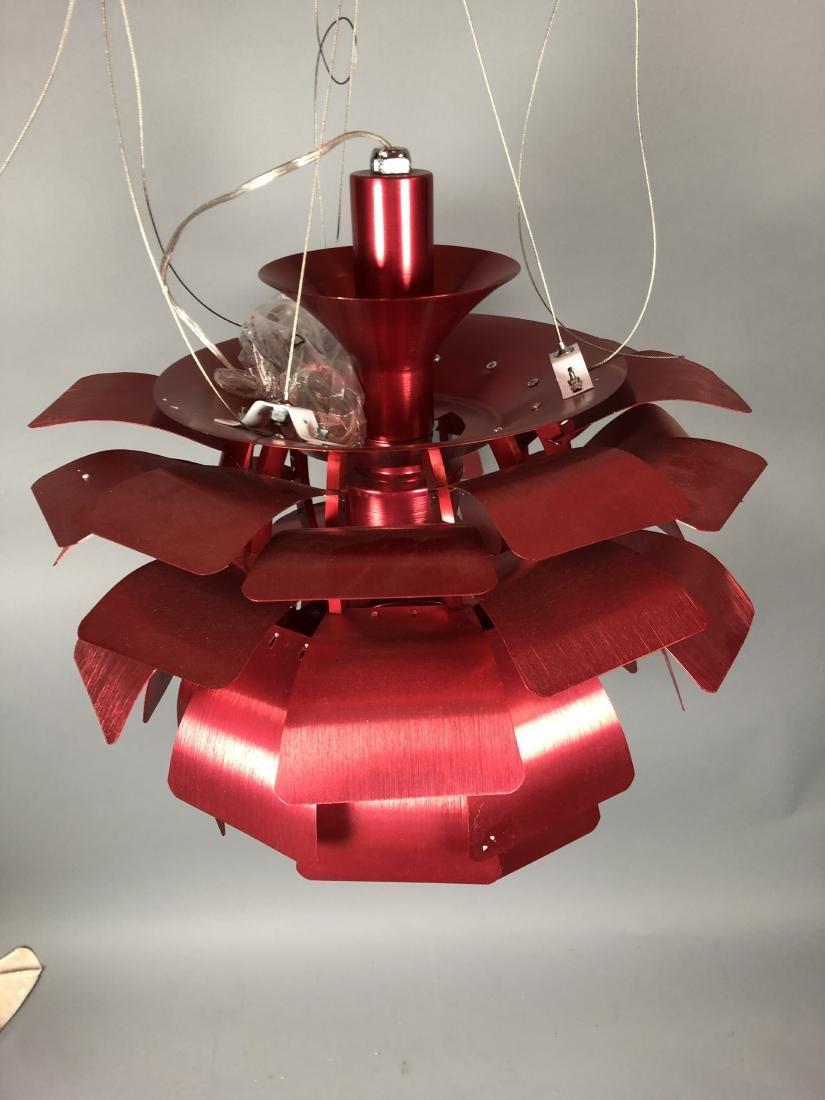 Red Aluminum Poulsen Artichoke style Chandelier. - 7