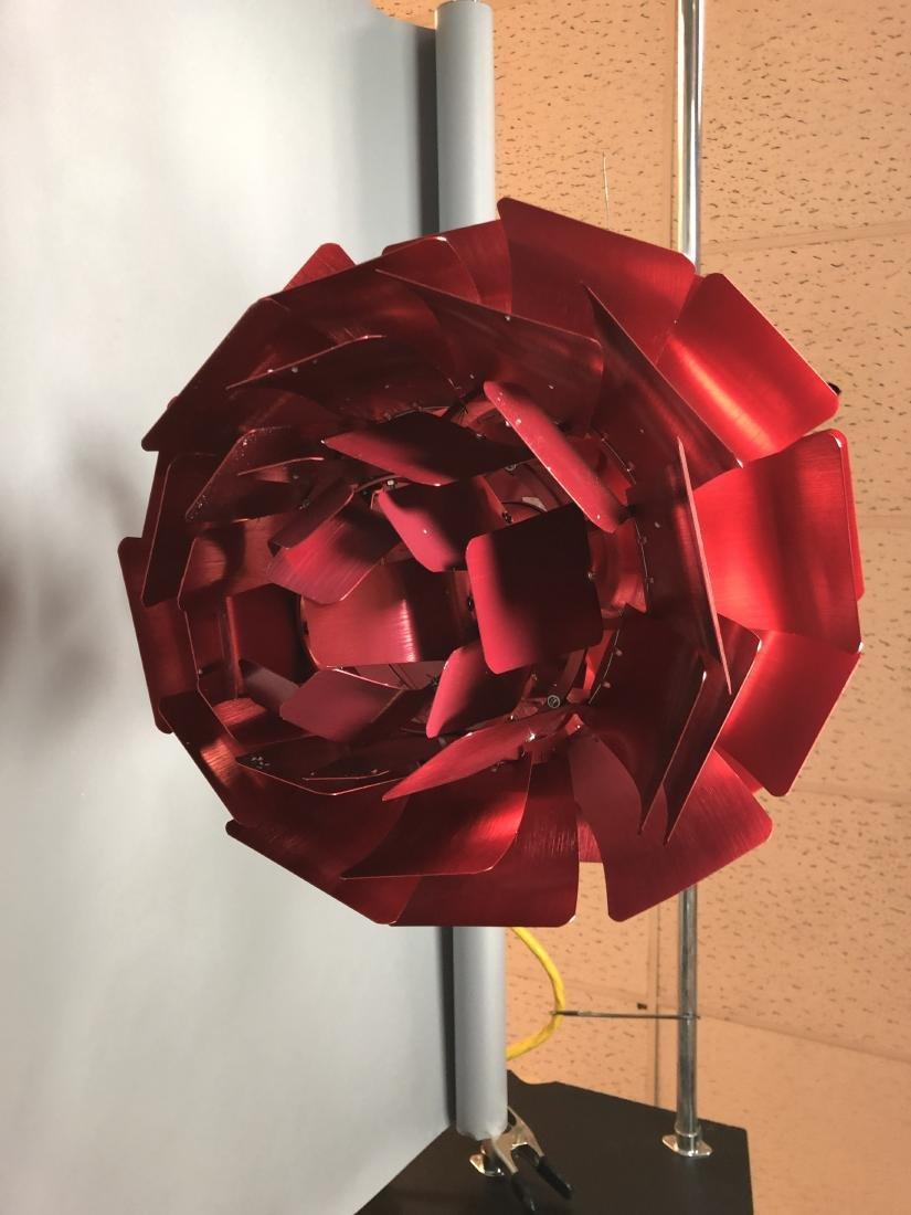 Red Aluminum Poulsen Artichoke style Chandelier. - 8