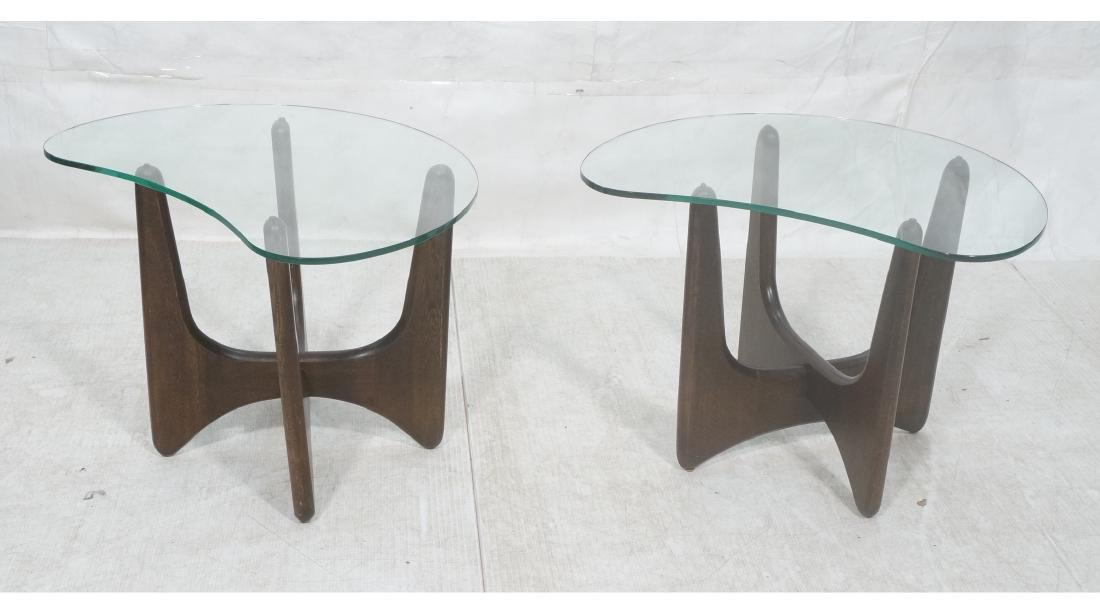 Pr ADRIAN PEARSALL Modernist Glass Top End Tables