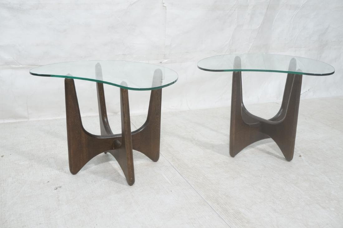 Pr ADRIAN PEARSALL Modernist Glass Top End Tables - 2