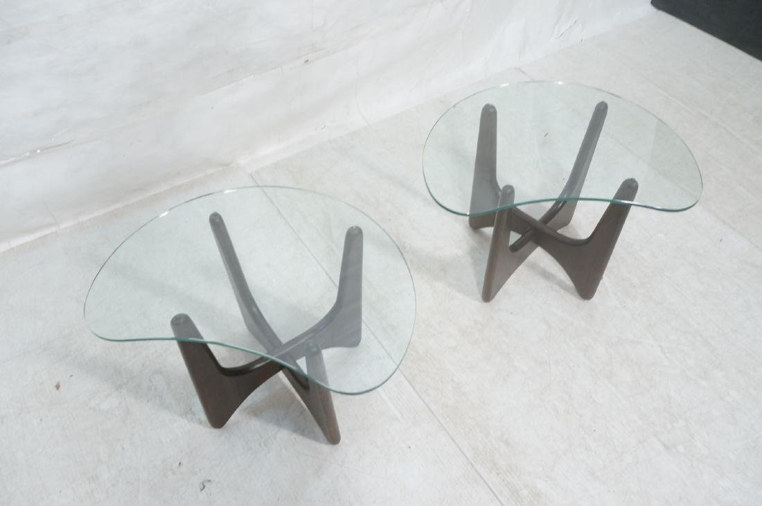 Pr ADRIAN PEARSALL Modernist Glass Top End Tables - 3