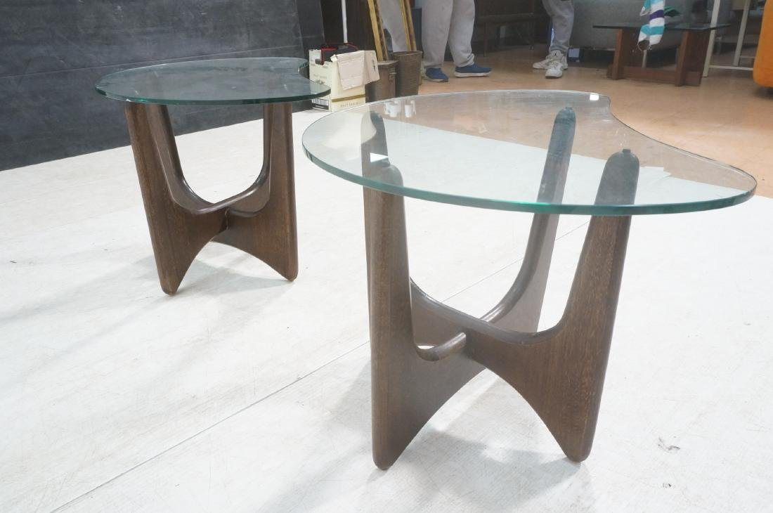 Pr ADRIAN PEARSALL Modernist Glass Top End Tables - 5