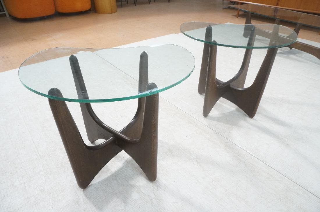 Pr ADRIAN PEARSALL Modernist Glass Top End Tables - 6