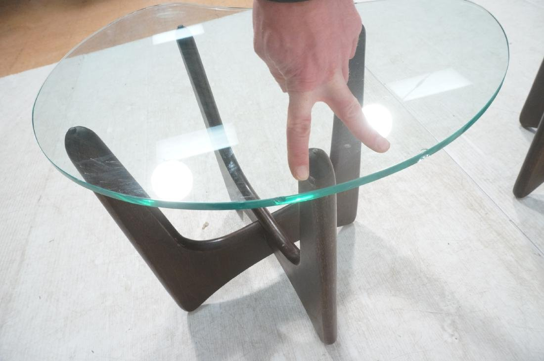 Pr ADRIAN PEARSALL Modernist Glass Top End Tables - 7