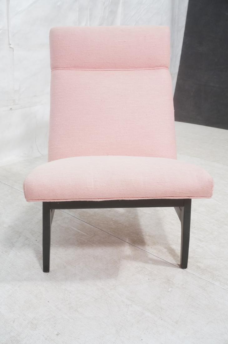 Jens Risom Ebonized Modernist Lounge Chair. Pink - 2