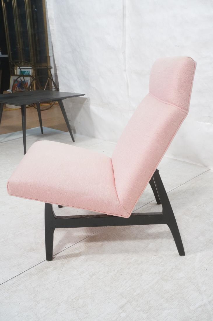 Jens Risom Ebonized Modernist Lounge Chair. Pink - 3