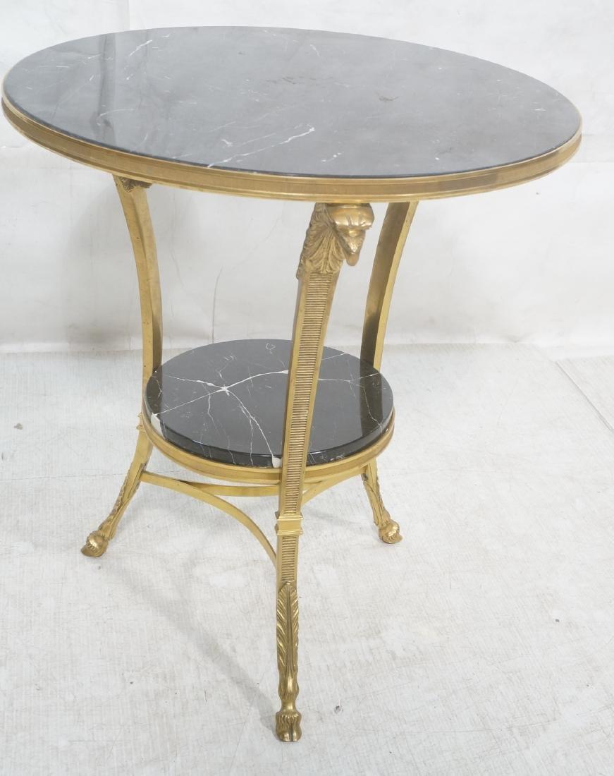 Heavy Brass Regency Marble Top Side Table. Round