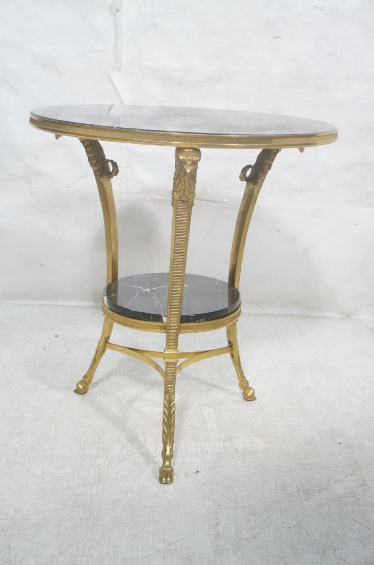 Heavy Brass Regency Marble Top Side Table. Round - 2