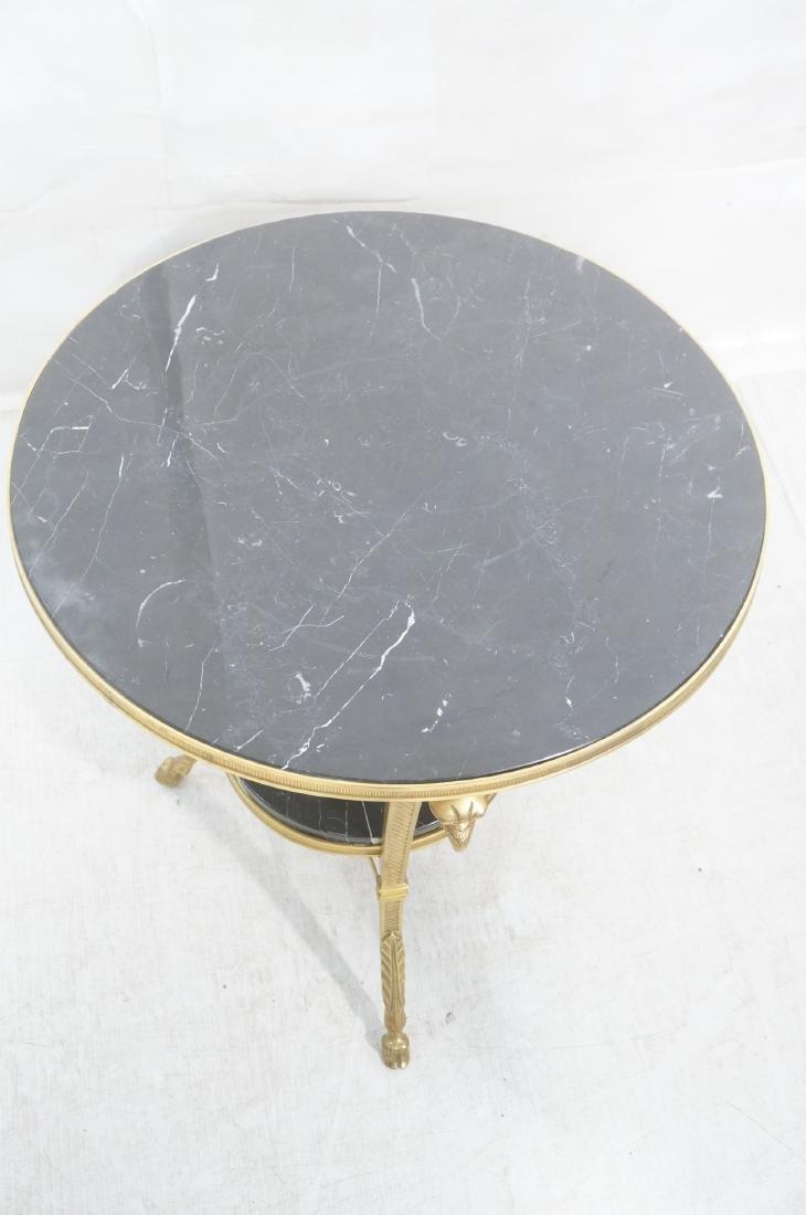 Heavy Brass Regency Marble Top Side Table. Round - 3