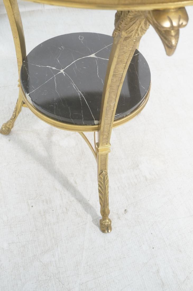 Heavy Brass Regency Marble Top Side Table. Round - 4