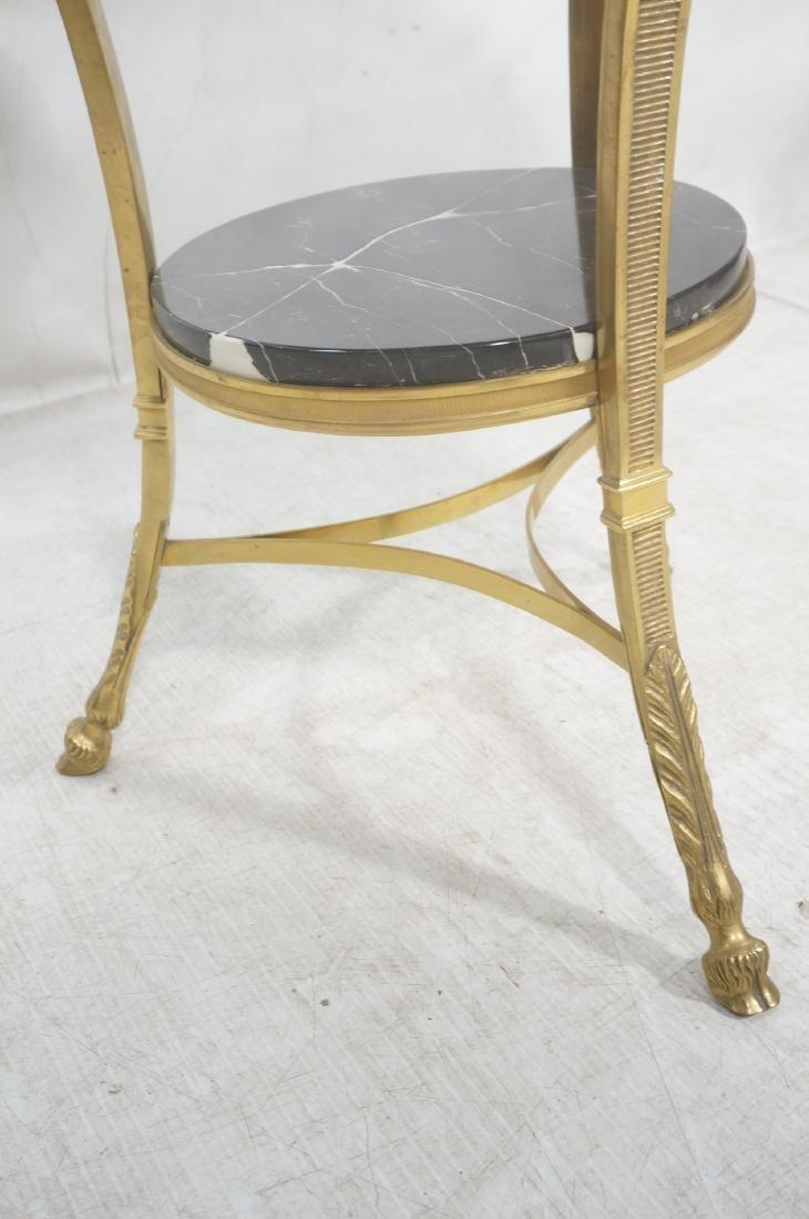 Heavy Brass Regency Marble Top Side Table. Round - 6