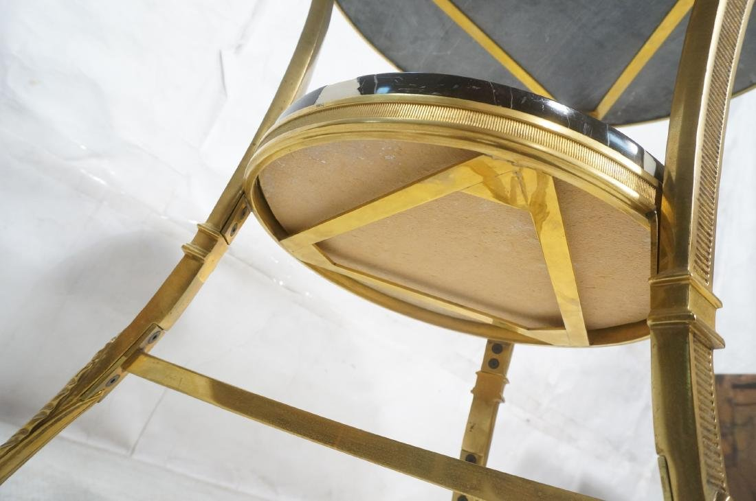 Heavy Brass Regency Marble Top Side Table. Round - 9