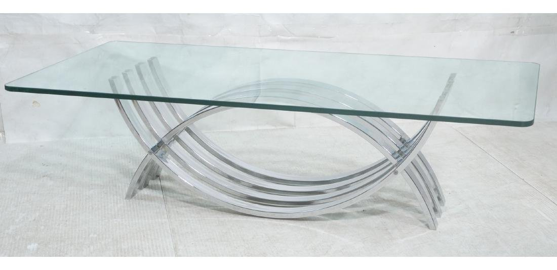 Modernist Chrome Base Glass Top Coffee Table. Rec