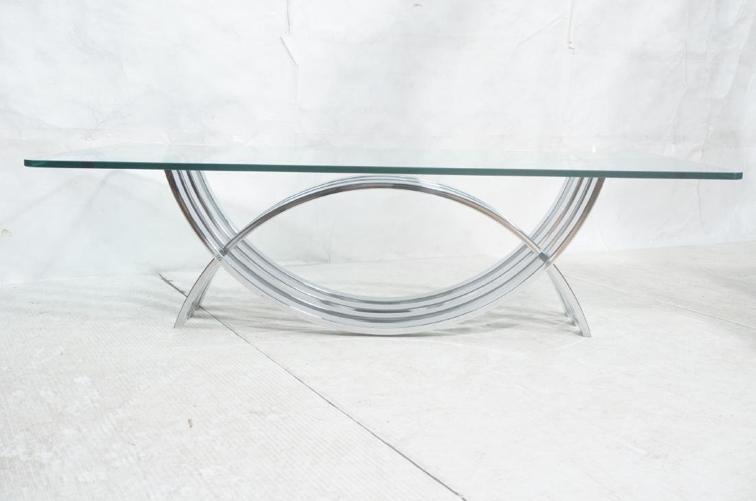 Modernist Chrome Base Glass Top Coffee Table. Rec - 2