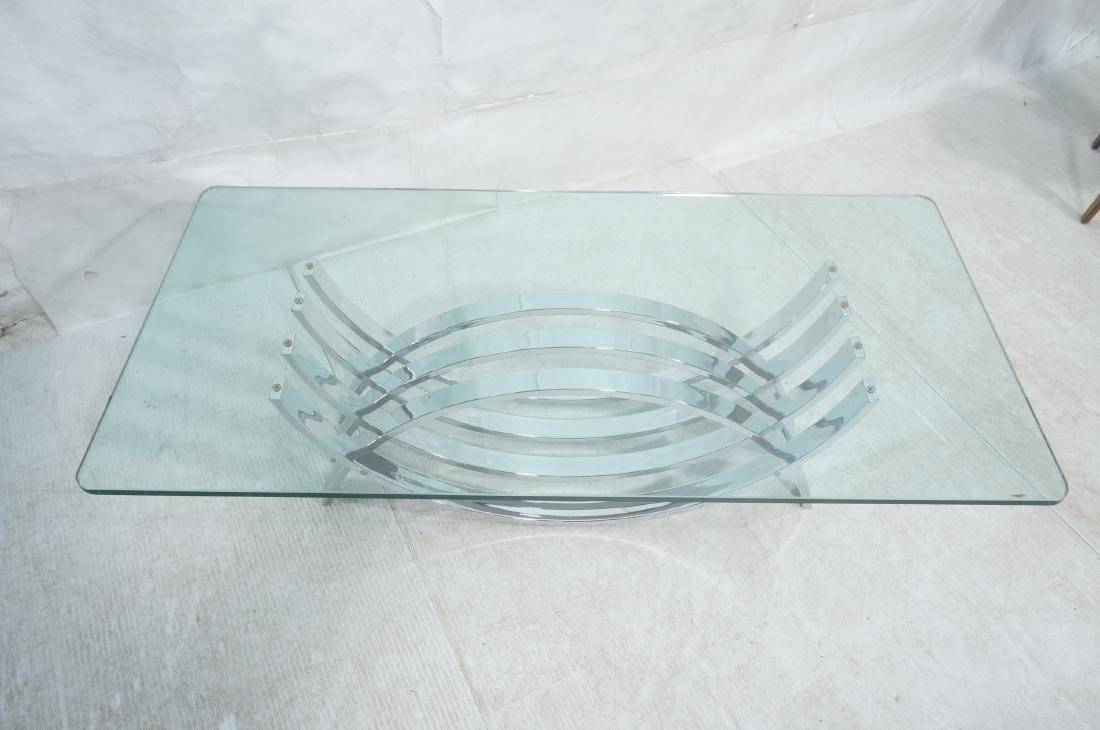 Modernist Chrome Base Glass Top Coffee Table. Rec - 3