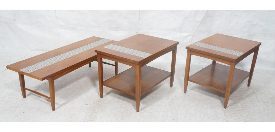 3pc Modernist LANE Walnut Table Set. Inset Small