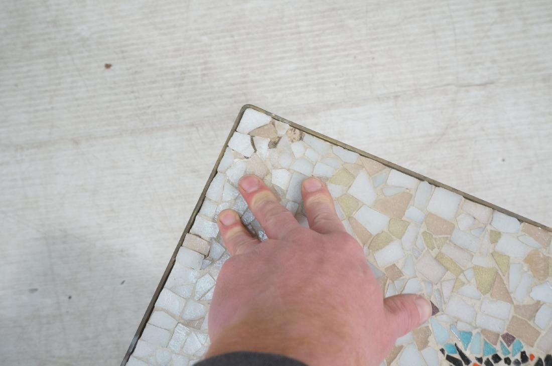 Modernist Mosaic Top Coffee Table. Brass Legs. Fl - 10