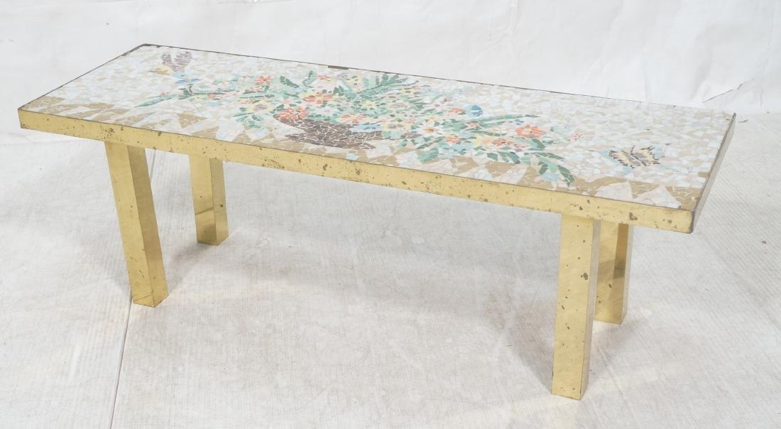 Modernist Mosaic Top Coffee Table. Brass Legs. Fl