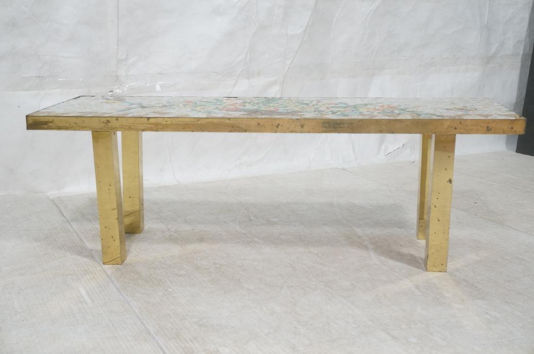 Modernist Mosaic Top Coffee Table. Brass Legs. Fl - 2
