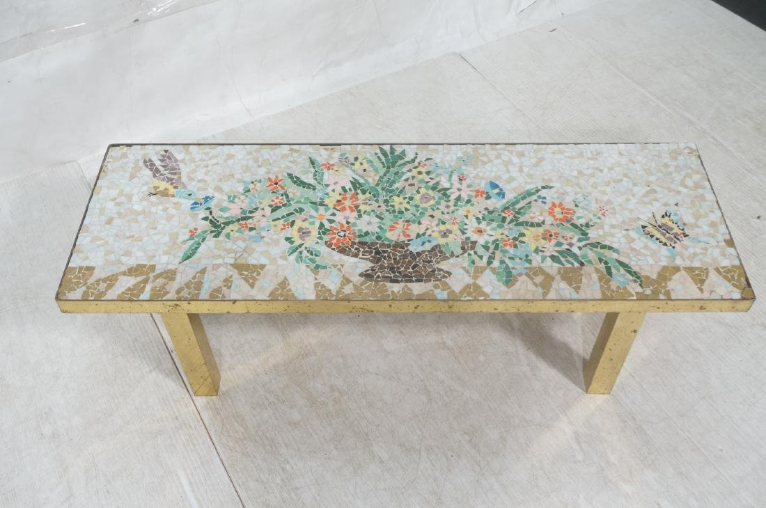 Modernist Mosaic Top Coffee Table. Brass Legs. Fl - 3