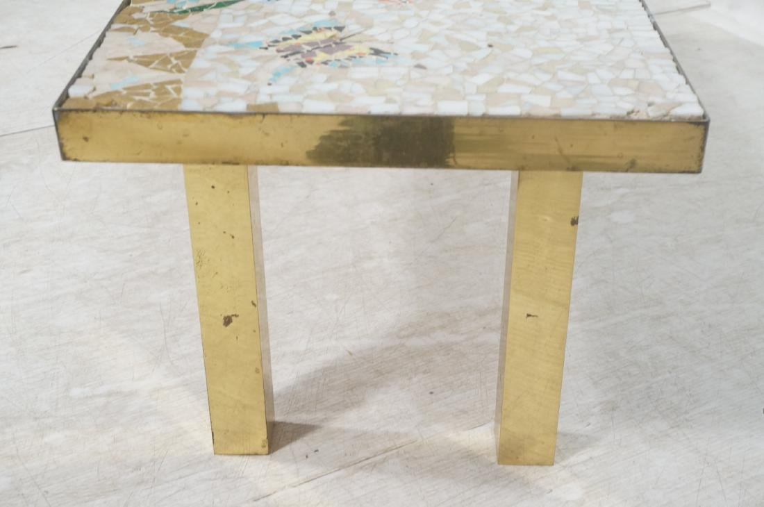 Modernist Mosaic Top Coffee Table. Brass Legs. Fl - 4