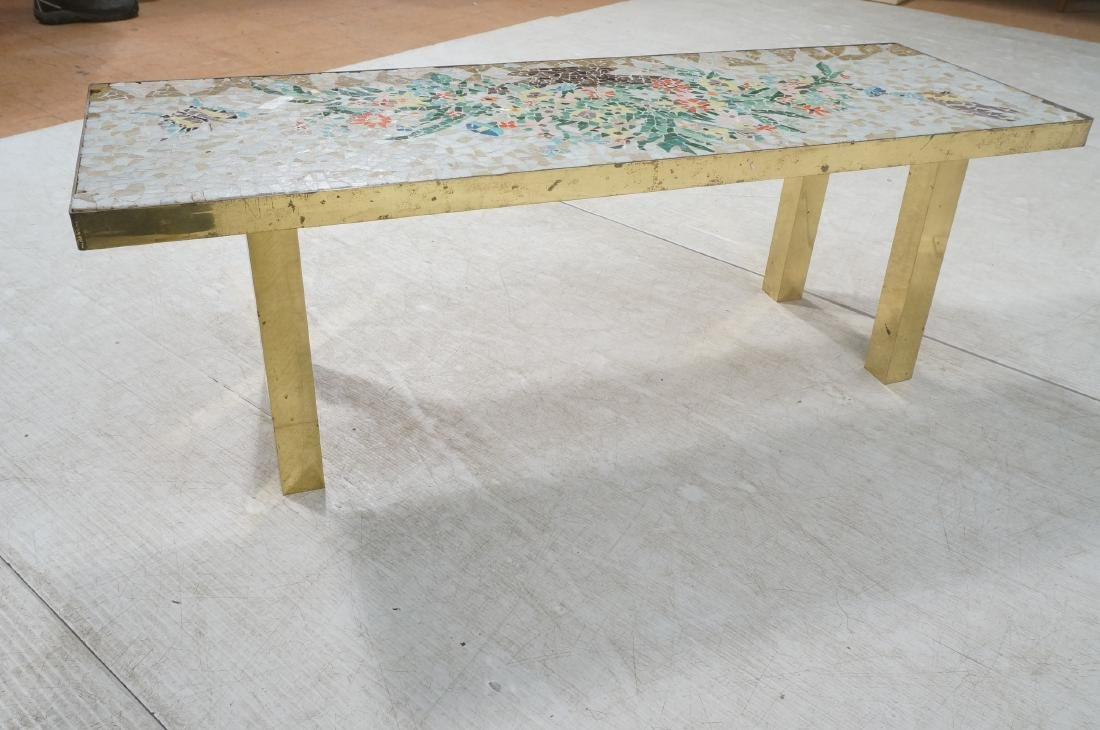 Modernist Mosaic Top Coffee Table. Brass Legs. Fl - 5