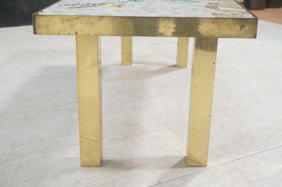 Modernist Mosaic Top Coffee Table. Brass Legs. Fl - 6