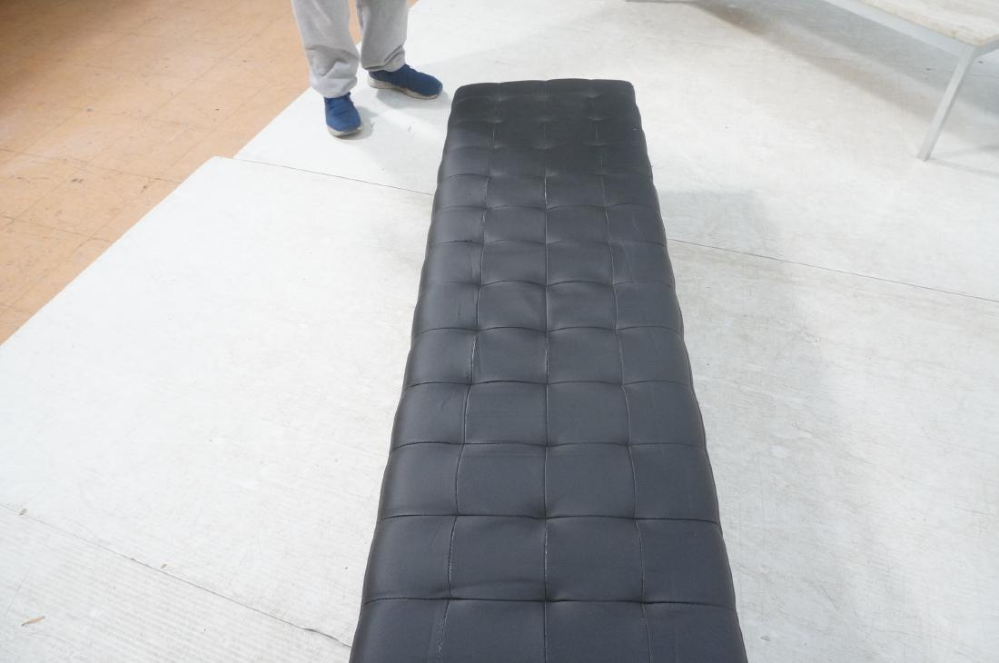 Black Vinyl Tufted Chrome Leg Bench. Modernist Se - 10