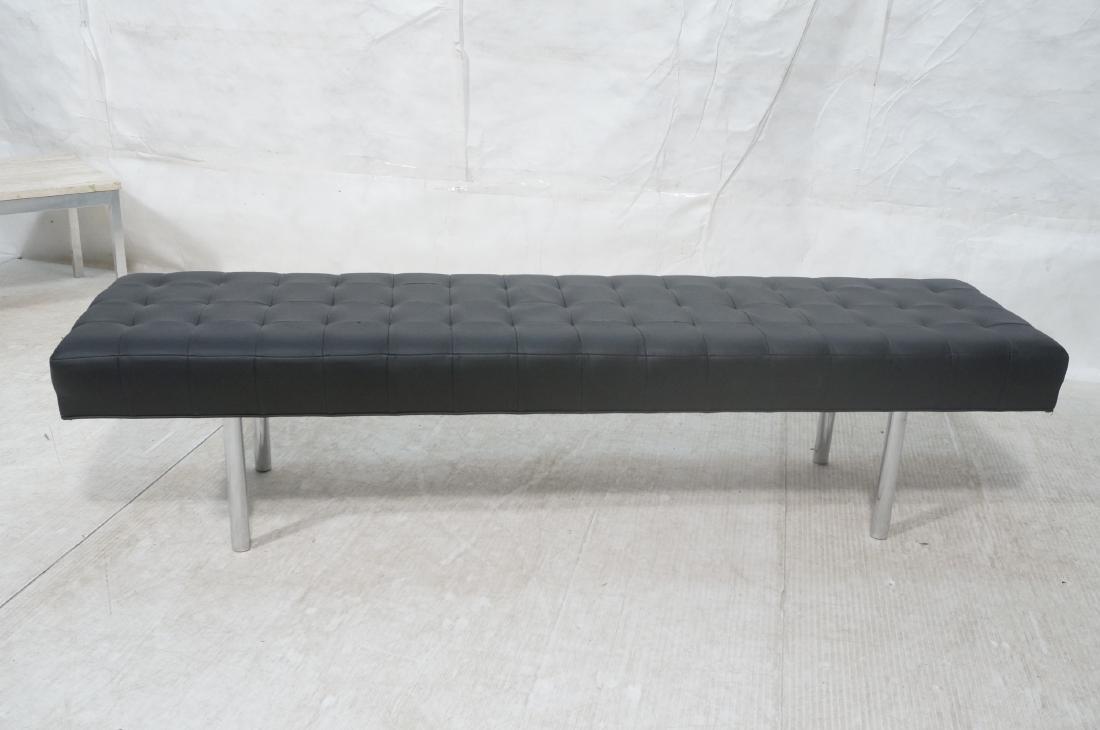 Black Vinyl Tufted Chrome Leg Bench. Modernist Se - 2